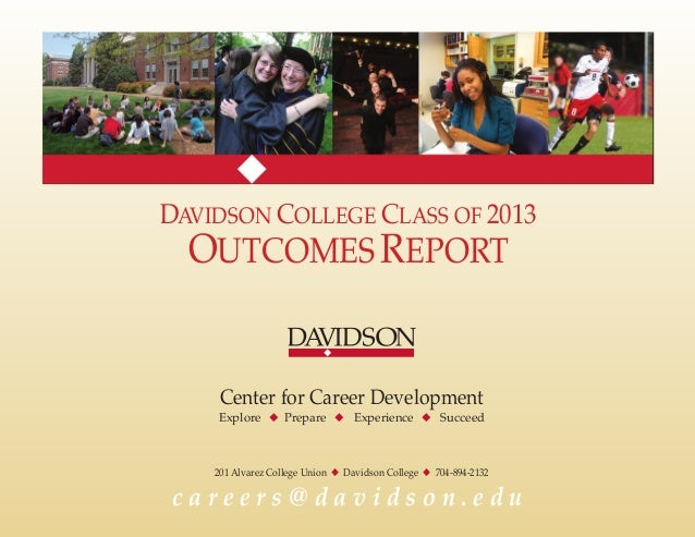 DAVIDSON COLLEGE CLASS OF 2013 OUTCOMESREPORT Center for Career Development Explore u Prepare u Experience u Succeed 201 A...
