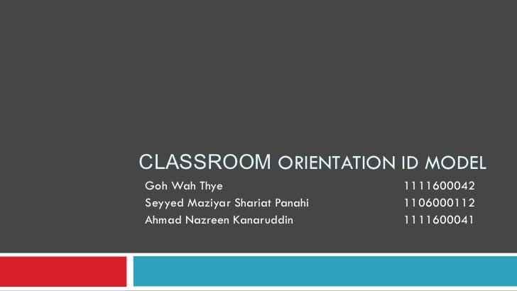 CLASSROOM ORIENTATION ID MODELGoh Wah Thye                    1111600042Seyyed Maziyar Shariat Panahi   1106000112Ahmad Na...