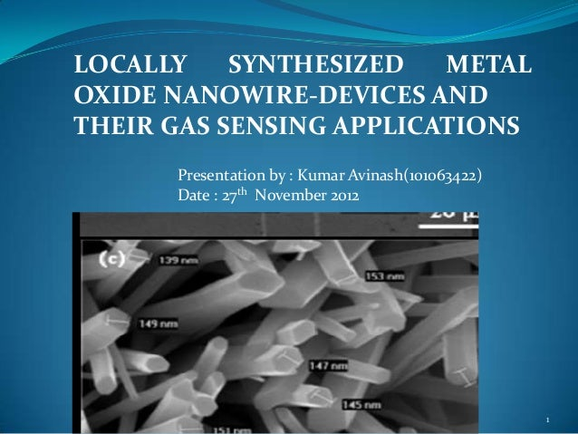 LOCALLY    SYNTHESIZED   METALOXIDE NANOWIRE-DEVICES ANDTHEIR GAS SENSING APPLICATIONS      Presentation by : Kumar Avinas...