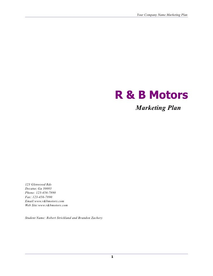 Your Company Name Marketing Plan                                                               R & B Motors               ...