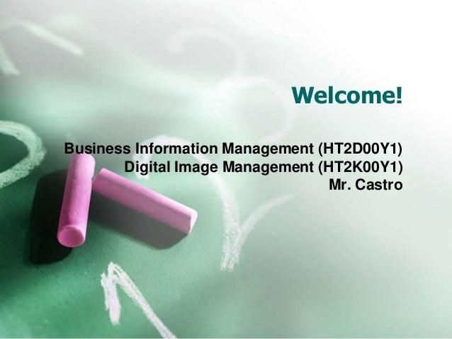 Welcome! Business Information Management (HT2D00Y1) Digital Image Management (HT2K00Y1) Mr. Castro