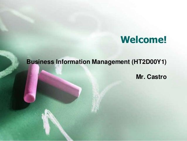 Welcome!  Business Information Management (HT2D00Y1)  Mr. Castro