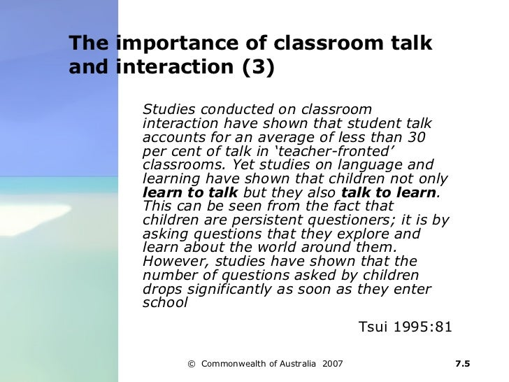 teacher student interaction in classrooms The effect of classroom environment on student  that promotes interaction and improved student  their classroom where students can interact with others and stay .