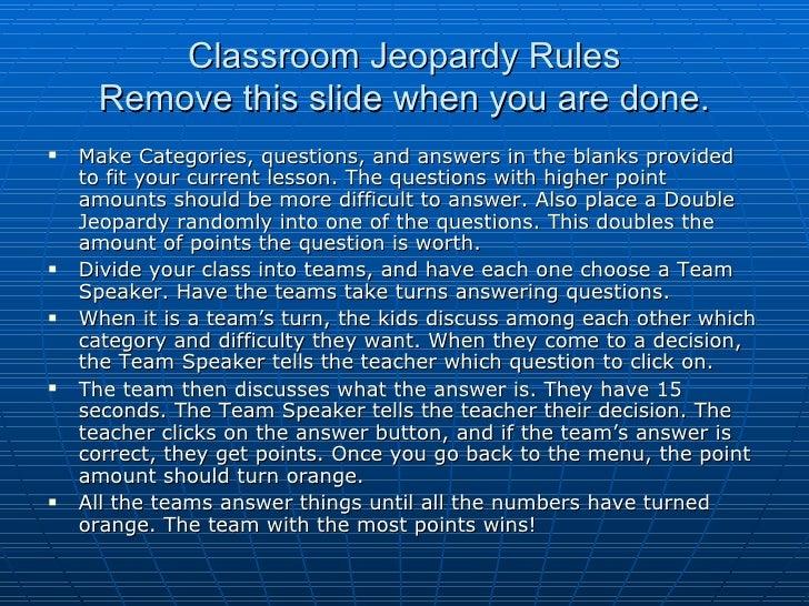 Classroom jeopardy rules