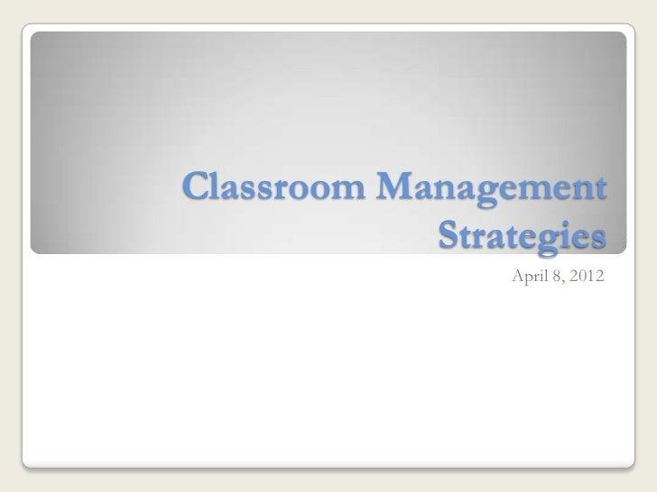 Classroom Management Strategies