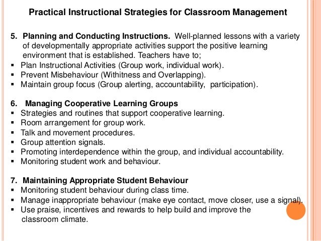 classroom management strategies 2 essay Classroom management and evaluation techniques buena vista university course description: this course promotes the acquisition of the knowledge and skills for elementary, middle, and high school teachers.
