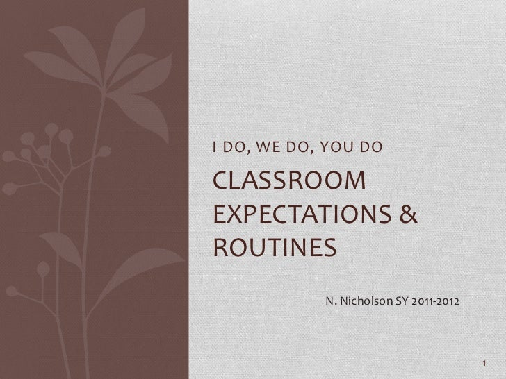 1<br />I DO, WE DO, YOU DO<br />Classroom expectations & routines<br />N. Nicholson SY 2011-2012<br />