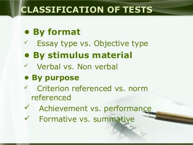Essay test vs objective test