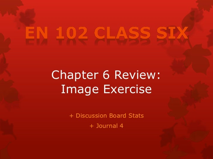 Chapter 6 Review: Image Exercise  + Discussion Board Stats        + Journal 4