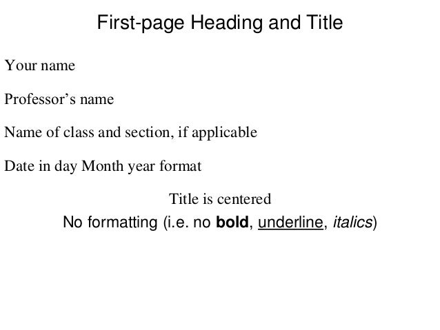 mla format for title page
