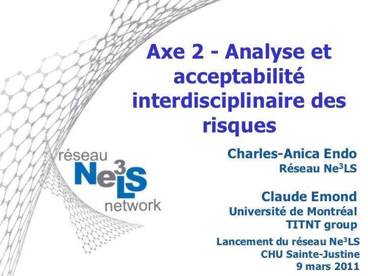 Axe 2 - Analyse et acceptabilité interdisciplinaire des risques<br />Charles-Anica Endo<br />Réseau Ne3LS<br />Claude Emon...