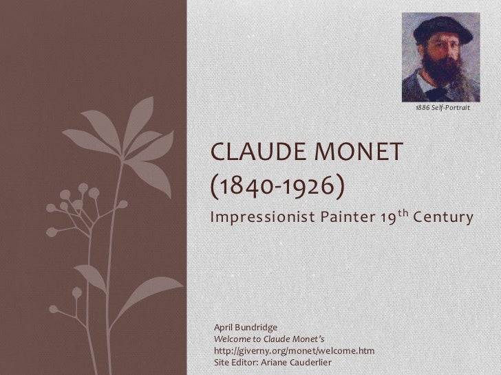 1886 Self-PortraitCLAUDE MONET(1840-1926)Impressionist Painter 19 th CenturyApril BundridgeWelcome to Claude Monet'shttp:/...