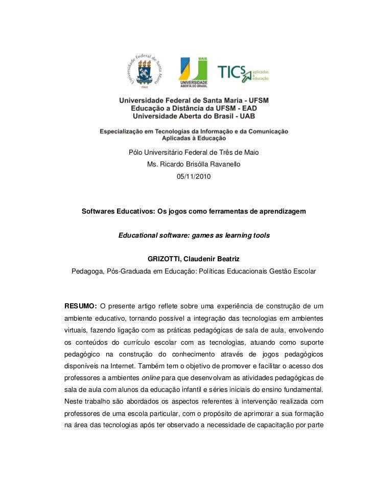 Pólo Universitário Federal de Três de Maio                           Ms. Ricardo Brisólla Ravanello                       ...