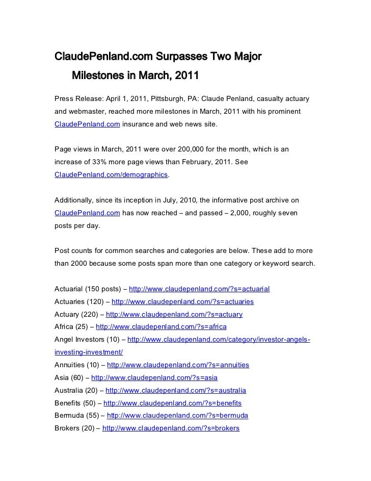 ClaudePenland.com Surpasses Two Major     Milestones in March, 2011Press Release: April 1, 2011, Pittsburgh, PA: Claude Pe...