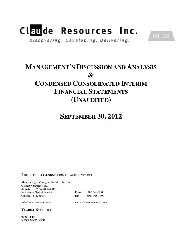 Claude Resources Inc. Q3 2012 MD&A and Financial Statements