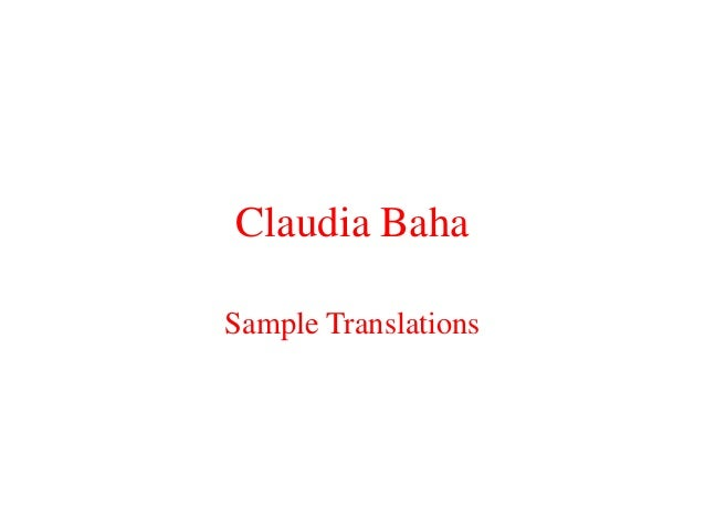 Claudia BahaSample Translations