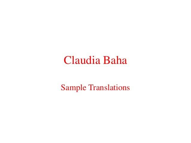 Claudia baha sample_translations