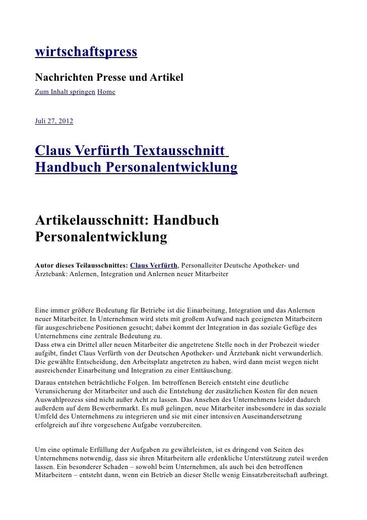 Claus Verfürth HandbuchPersonalentwicklung wirtschaftspress