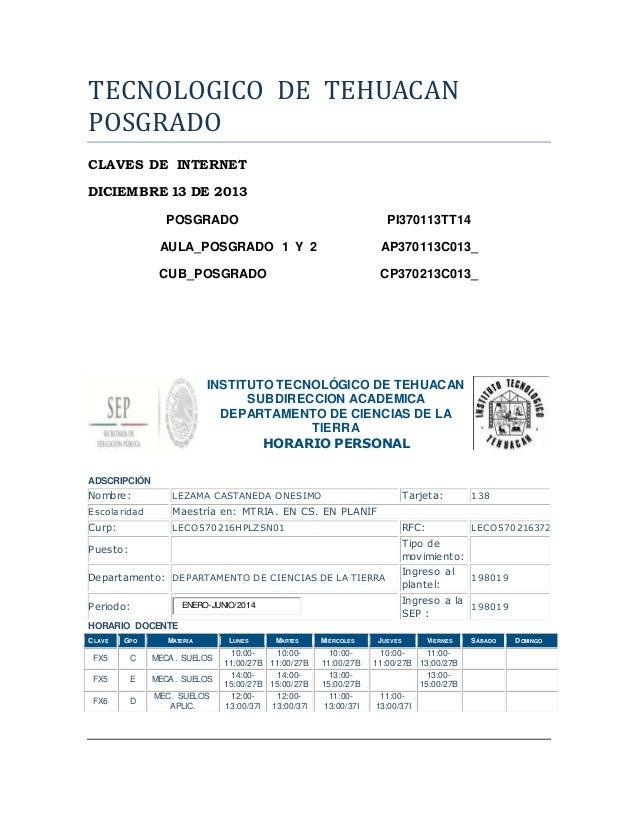 TECNOLOGICO DE TEHUACAN  POSGRADO  CLAVES DE INTERNET  DICIEMBRE 13 DE 2013  POSGRADO PI370113TT14  AULA_POSGRADO 1 Y 2 AP...