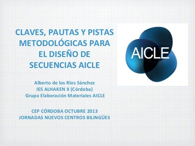 CLAVES, PAUTAS Y PISTAS METODOLÓGICAS PARA EL DISEÑO DE SECUENCIAS AICLE Alberto de los Ríos Sánchez IES ALHAKEN II (Córdo...