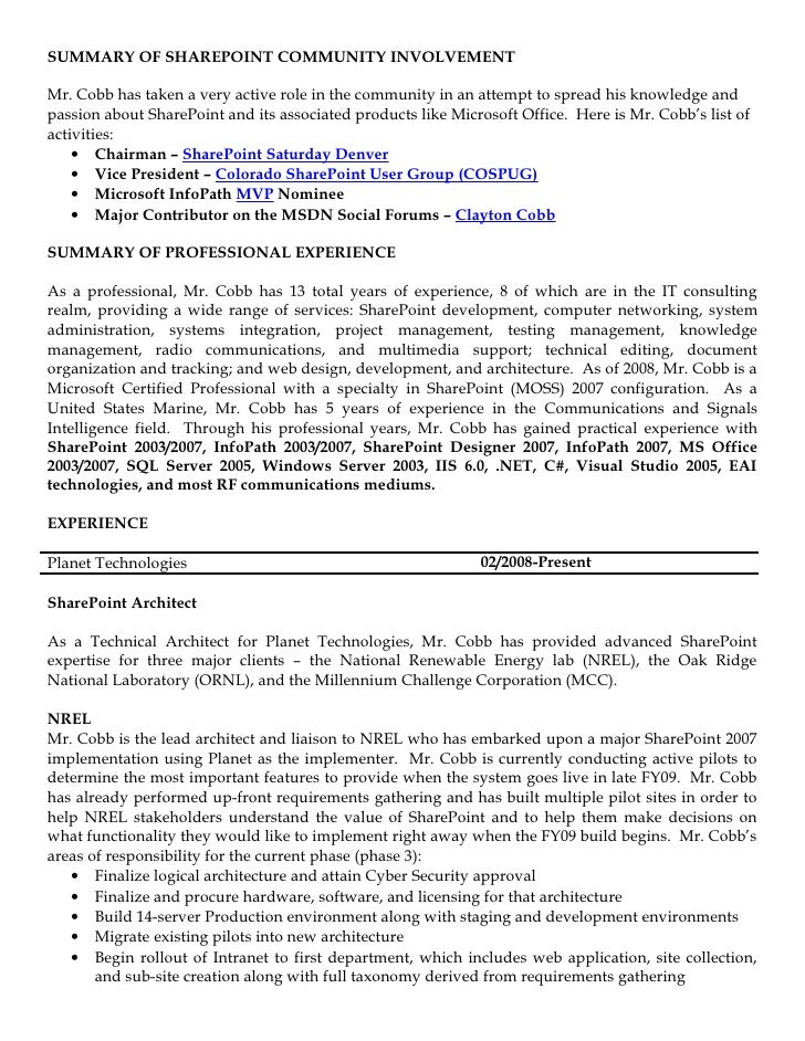 Sample Resume For Sharepoint Developer. image slidesharecdn com ...