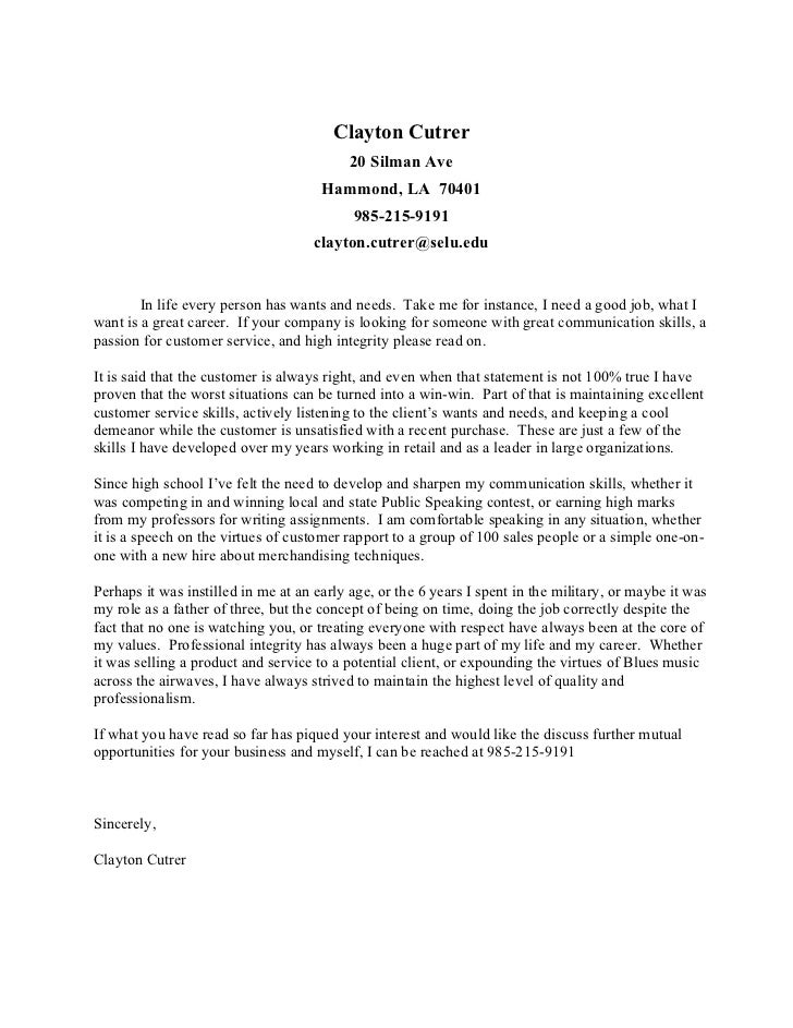 general cover letters for students