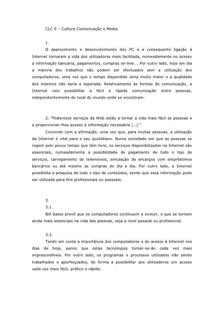 CLC 5 – Cultura Comunicação e Media          1.        O aparecimento e desenvolvimento dos PC e a consequente ligação à I...