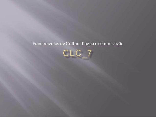 Fundamentos de Cultura língua e comunicação
