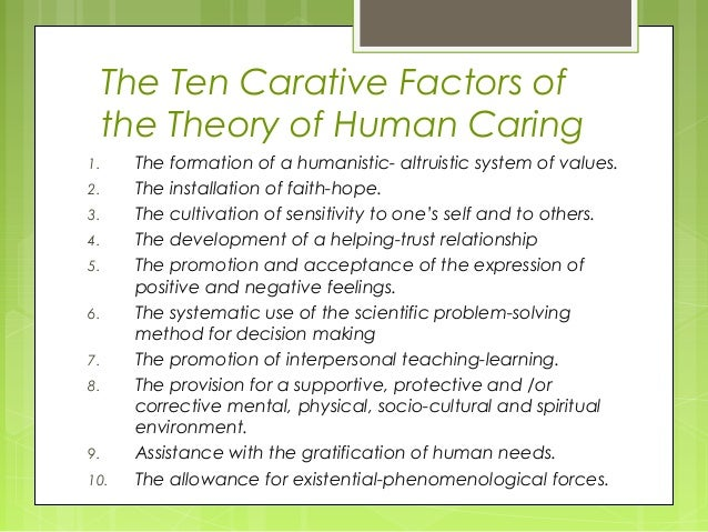 jean watsons caritas process in gerontology essay Abstract this is a reflexive essay on the potential use of jean watson's theory of transpersonal caring in the delivery of child-oriented nursing home care, in the light of the 10 elements of the clinical caritas process.