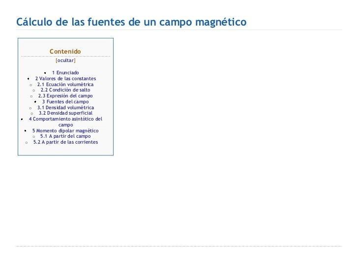 Cálculo de las fuentes de un campo magnético
