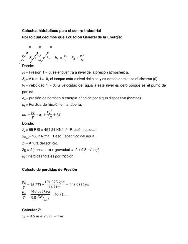 Cálculos hidráulicos 2
