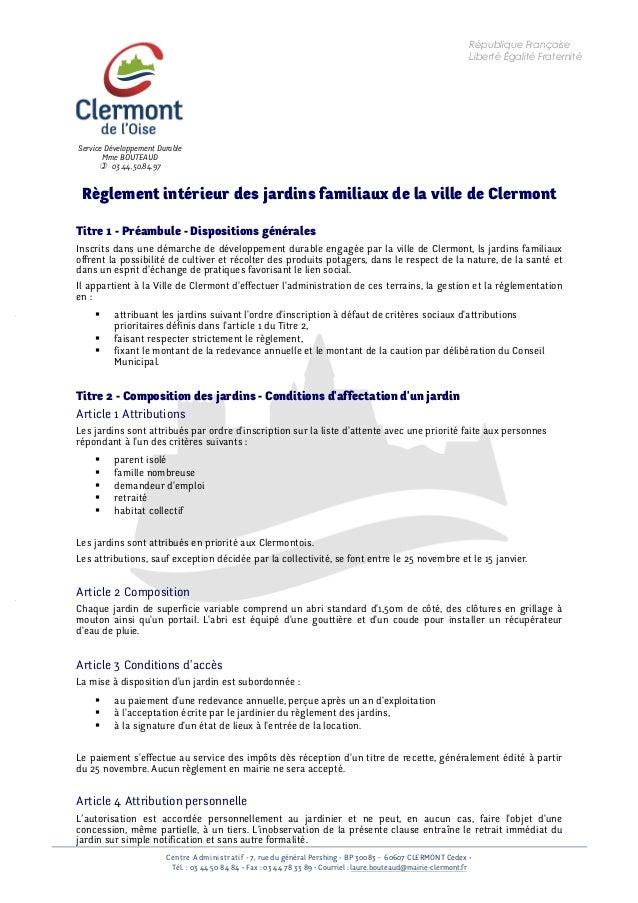 Centre Administratif - 7, rue du général Pershing - BP 30083 - 60607 CLERMONT Cedex • Tél. : 03 44 50 84 84 • Fax : 03 44 ...