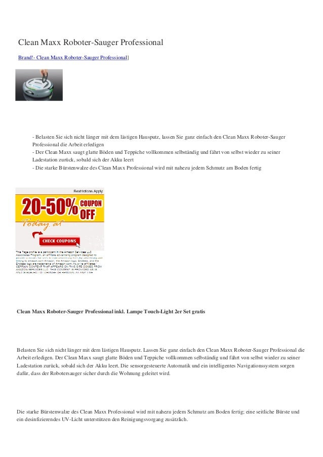 Clean Maxx Roboter-Sauger ProfessionalBrand!- Clean Maxx Roboter-Sauger Professional]      - Belasten Sie sich nicht länge...