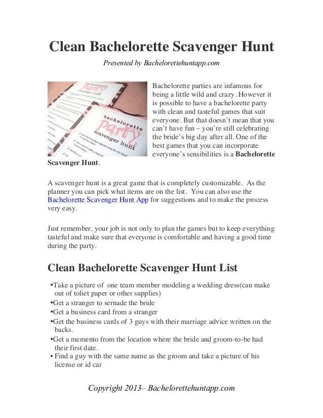 Clean Bachelorette Scavenger Hunt                  Presented by Bachelorettehuntapp.com                                   ...