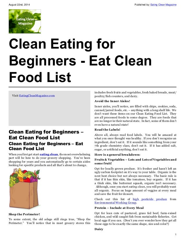 Clean Eating for Beginners - Eat Clean Food List - Eating ...