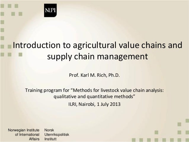 Introduction to agricultural value chains and supply chain management