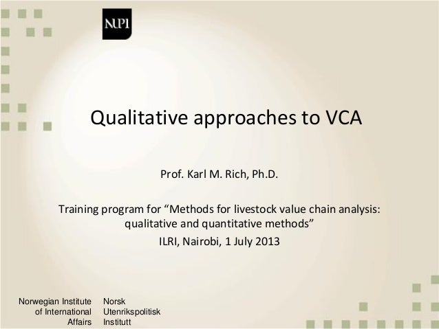Qualitative approaches to value chain analysis