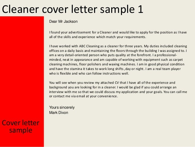 Sample Cleaner Cove Letter 2. Cleaner cover letter sample 1 Dear ...