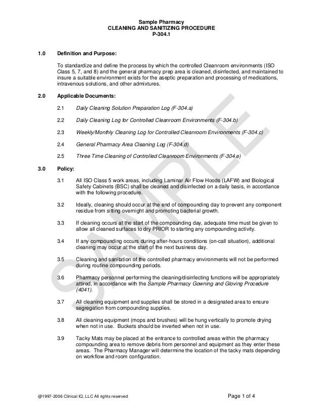 Sample Pharmacy CLEANING AND SANITIZING PROCEDURE P-304.1  1.0  Definition and Purpose: To standardize and define the proc...
