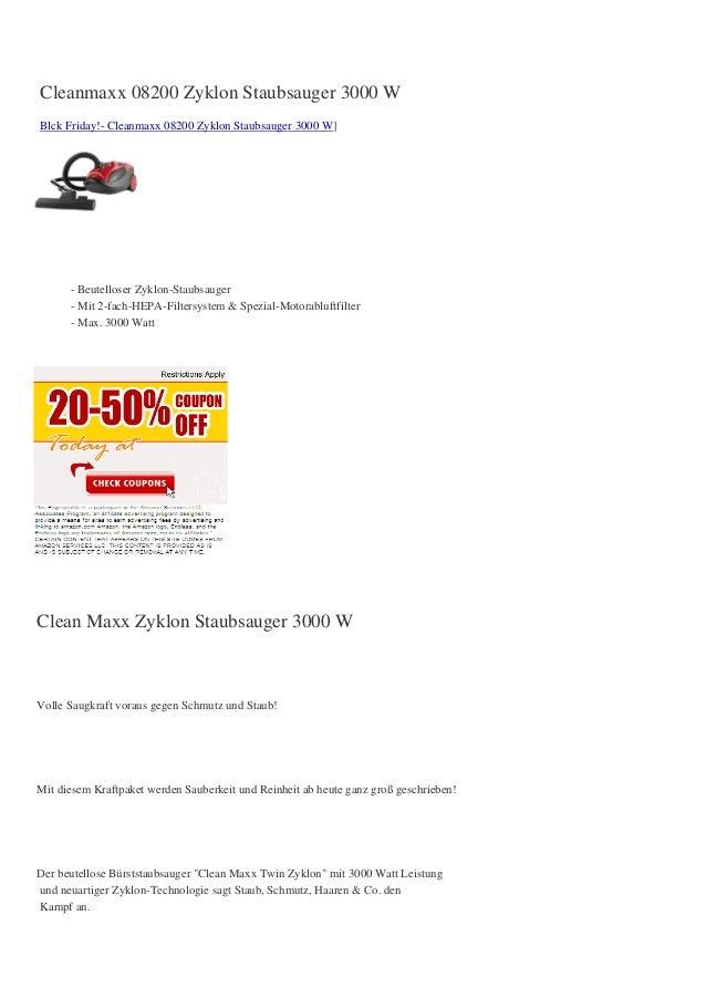 Cleanmaxx 08200 Zyklon Staubsauger 3000 WBlck Friday!- Cleanmaxx 08200 Zyklon Staubsauger 3000 W]      - Beutelloser Zyklo...