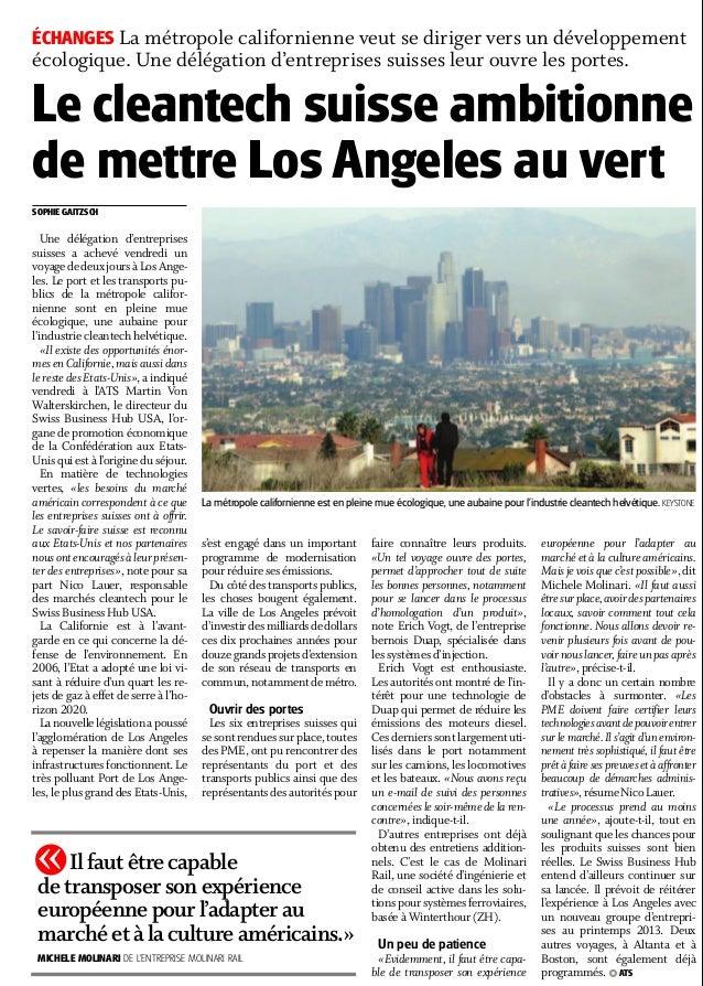Le cleantech suisse ambitionne de mettre Los Angeles au vert