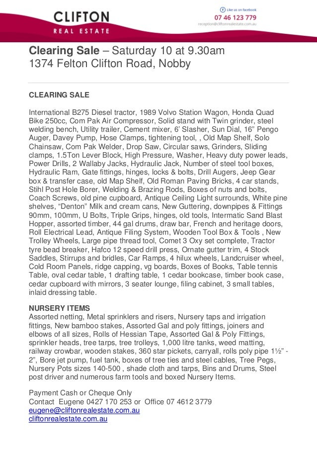 Clearing Sale – Saturday 10 at 9.30am 1374 Felton Clifton Road, Nobby CLEARING SALE International B275 Diesel tractor, 198...