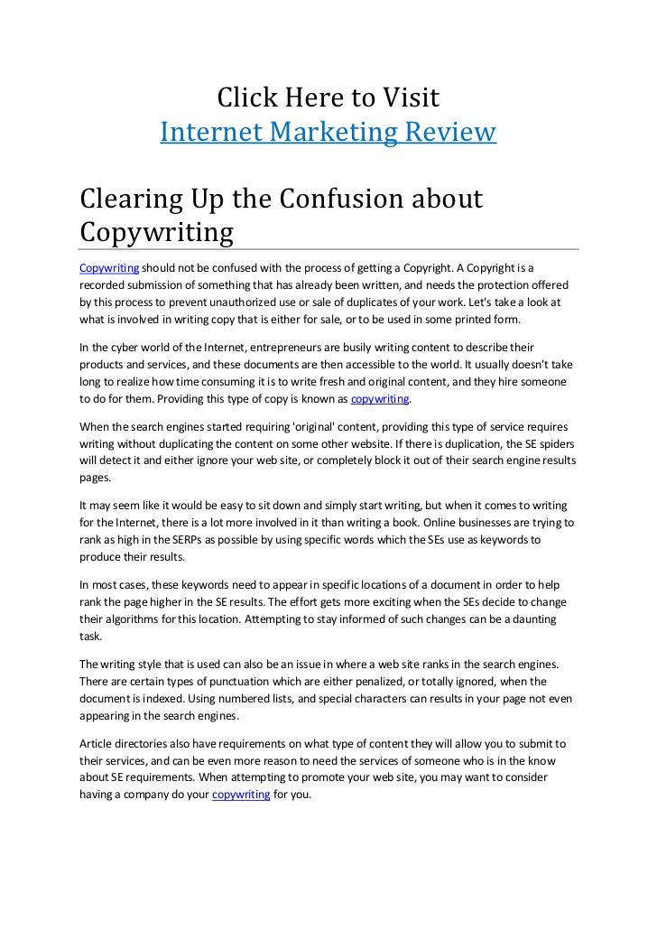 Click Here to Visit                 Internet Marketing ReviewClearing Up the Confusion aboutCopywritingCopywriting should ...