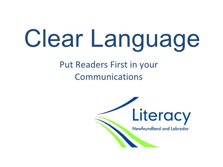 Clear Language Put Readers First in your Communications