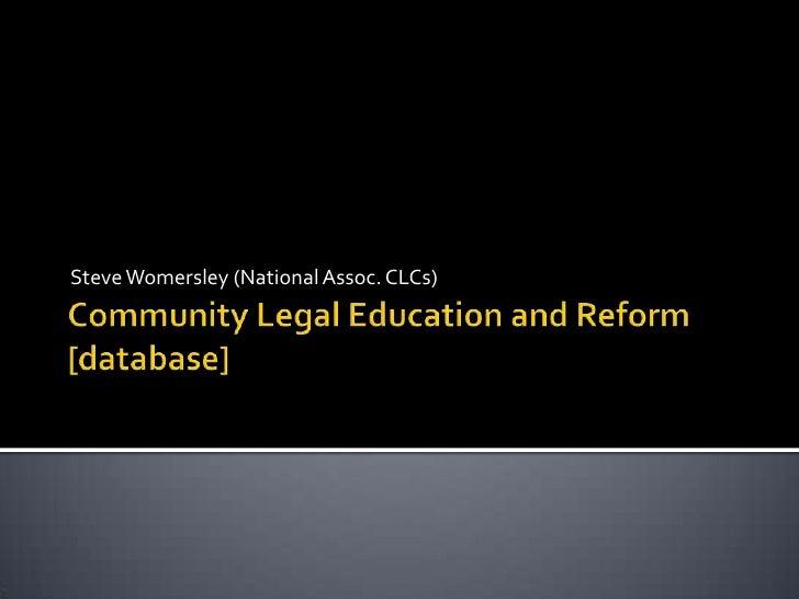 Steve Womersley (National Assoc. CLCs)