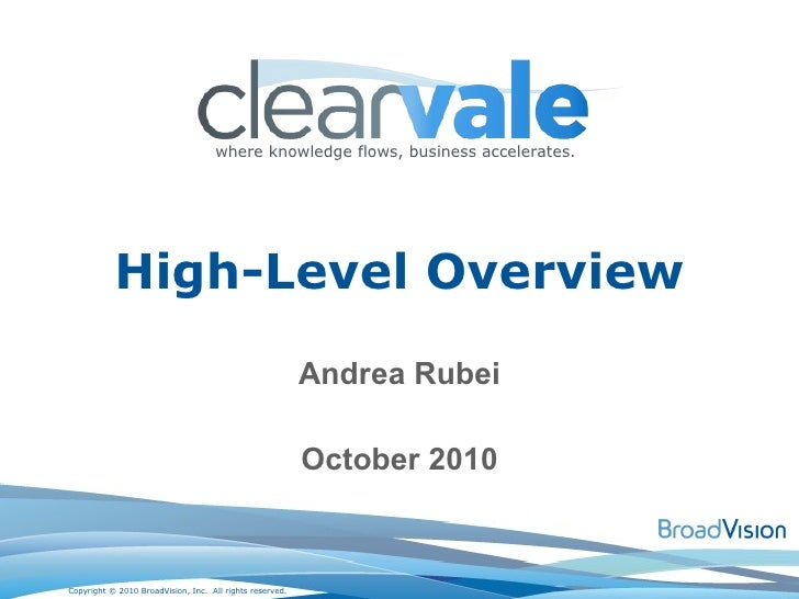 Andrea Rubei October 2010 High-Level Overview