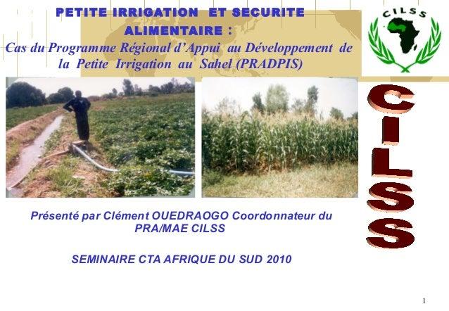 1 PETITE IRRIGATION ET SECURITE ALIMENTAIRE: Cas du Programme Régional d'Appui au Développement de la Petite Irrigation...