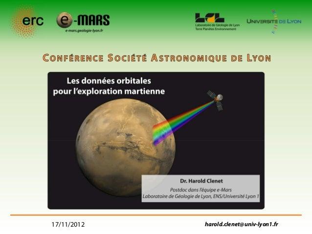 17/11/2012   harold.clenet@univ-lyon1.fr