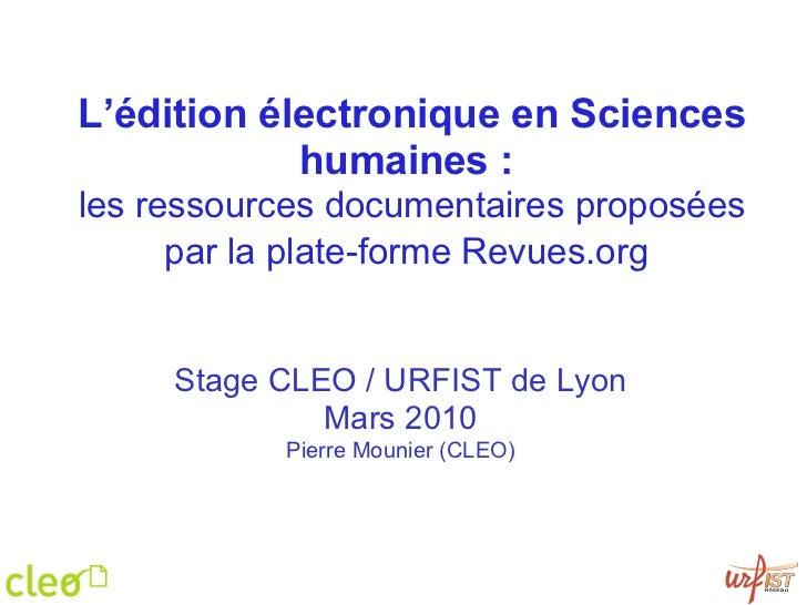 Les ressources documentaires du Cléo (Revues.org, Calenda, Hypothèses)
