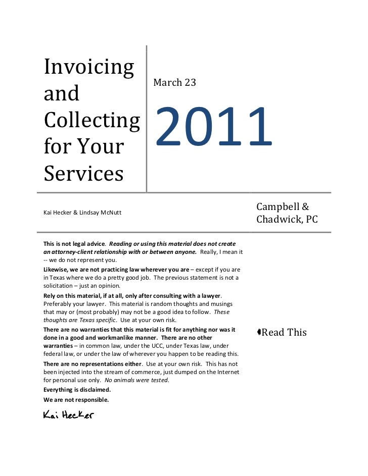 Invoicing                                        March 23andCollectingfor Your                                2011Services...